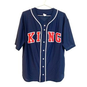 🔥King embroidered Mesh Baseball Jersey Navy a4